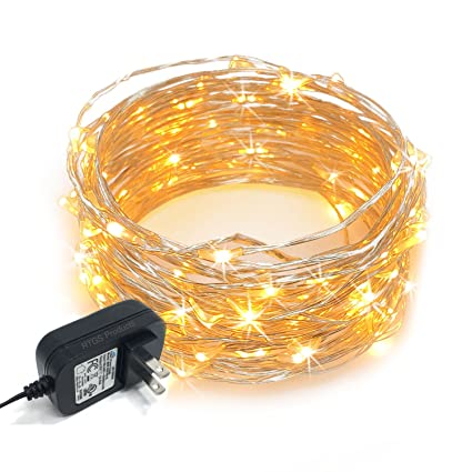 amazon com: rtgs 100 leds string lights plug-in on 32 feet long silver color  wire, indoor outdoor use (warm white color 100 leds 32 feet): home & kitchen
