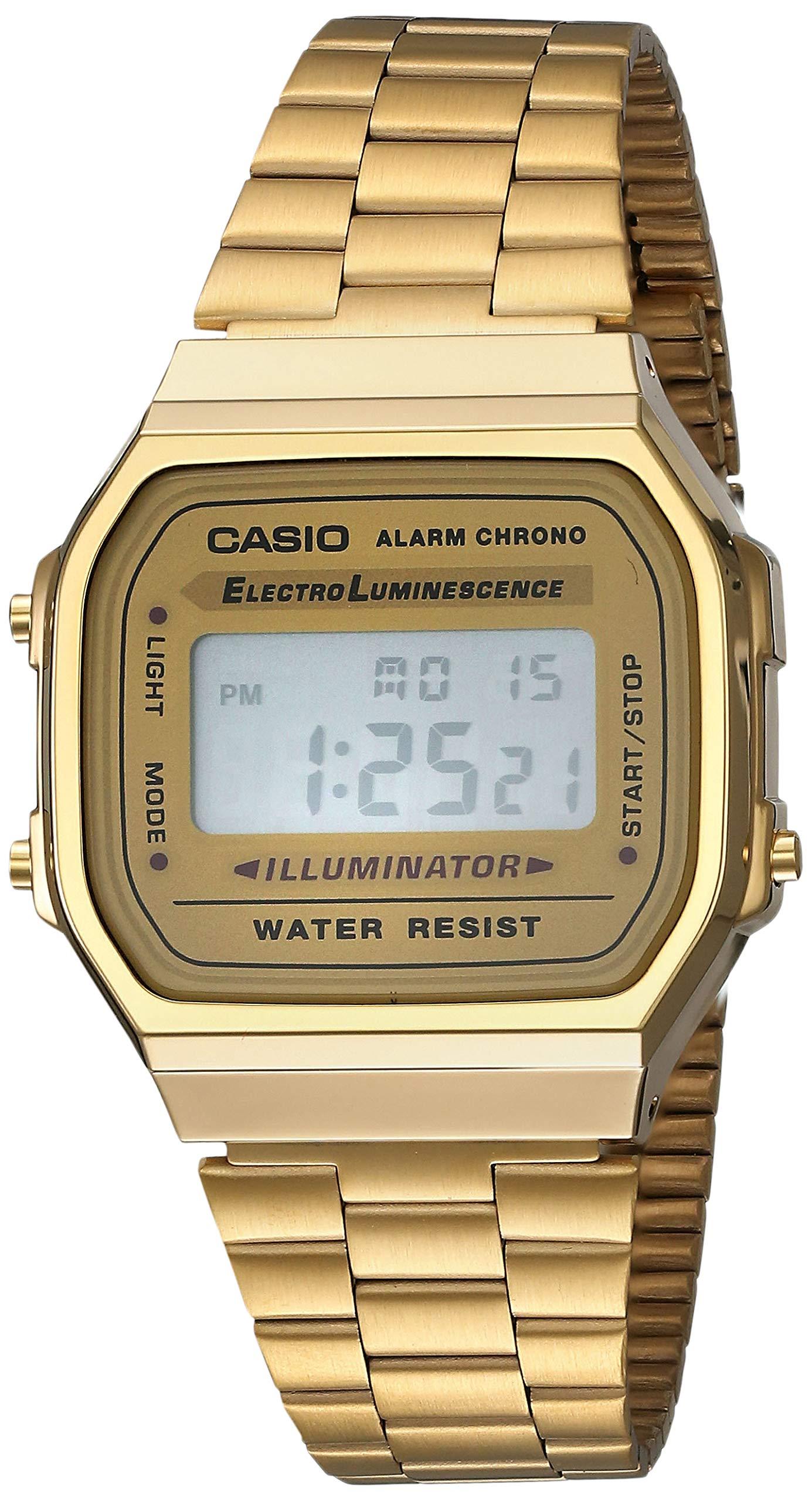 Casio Gold A168WG-9 Digital Alarm Eliminator Light A168WG-9W Sport Watch A168WG