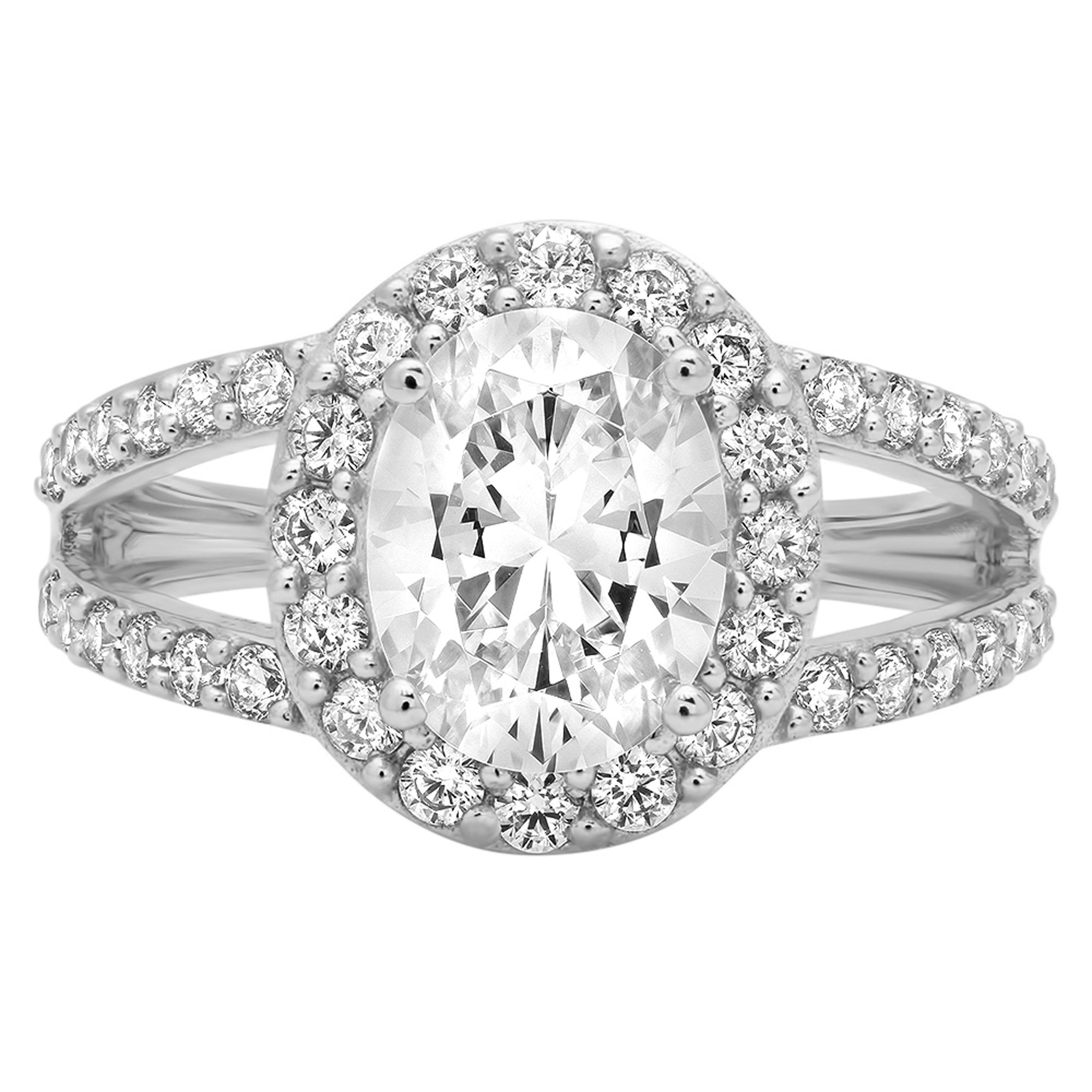 2.14ct Brilliant Oval Cut Designer Halo Solitaire Promise Anniversary Statement Engagement Wedding Bridal Ring For Women Solid 14k White Gold, 3.75