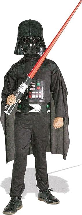 Oferta amazon: Star Wars - Disfraz de Darth Vader para niño, caja con disfraz, máscara y espada, 5-7 años (Rubie`s 41020-M)
