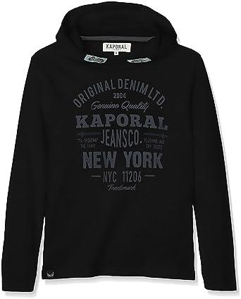 4cd35edf1f2f7 Kaporal Nika - Tee-Shirt Manches longue à capuche Garçon - Noir (Black)
