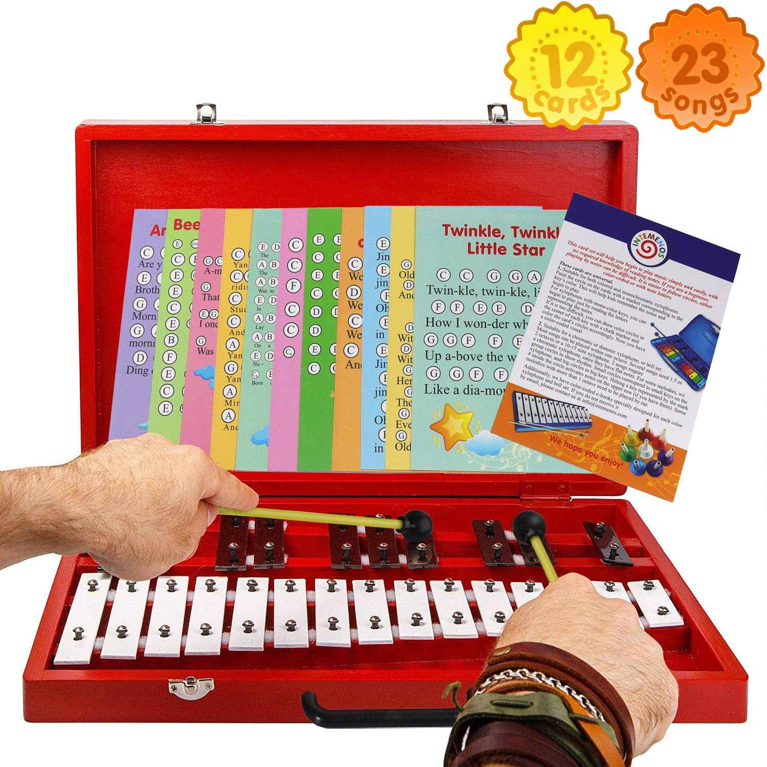Glockenspiel 25-Note Chromatic Xylophone in Red Wooden Case with Handle and Card Set