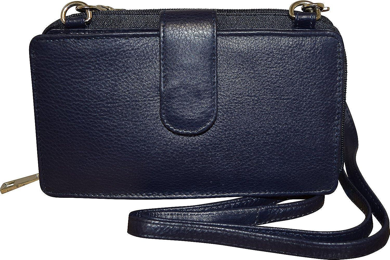 Pielino Women's Leather Smart Phone Crossbody Wallet With RFID Option