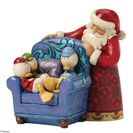Jim Shore for Enesco Disney Traditions by Santa with Huey Dewey and Louie Figurine, 6.125-Inch