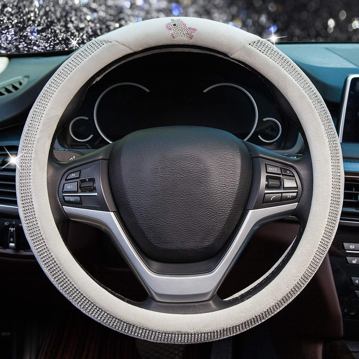 Winter Warm Plush Car Wheel Cover with Bling Crystal Rhinestones Valleycomfy Diamond Steering Wheel Cover for Women Girls Black Universal Fit 15 Inch Anti-Slip Wheel Protector