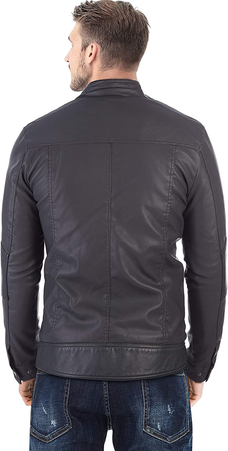 X RAY Mens Leather Biker Jacket Moto Faux Leather Casual Motorcyle Jacket for Men