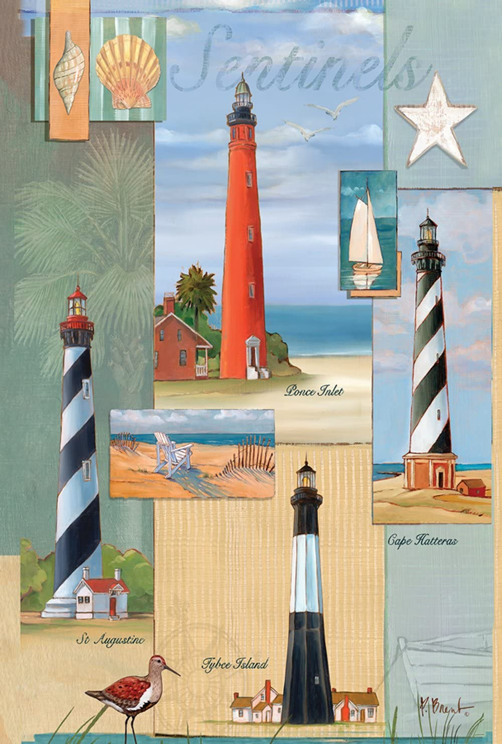 "Toland Home Garden 109857 28 X 40 Inch Decorative, House Flag (28"" x 40""), Sentinel Lighthouse Collage"