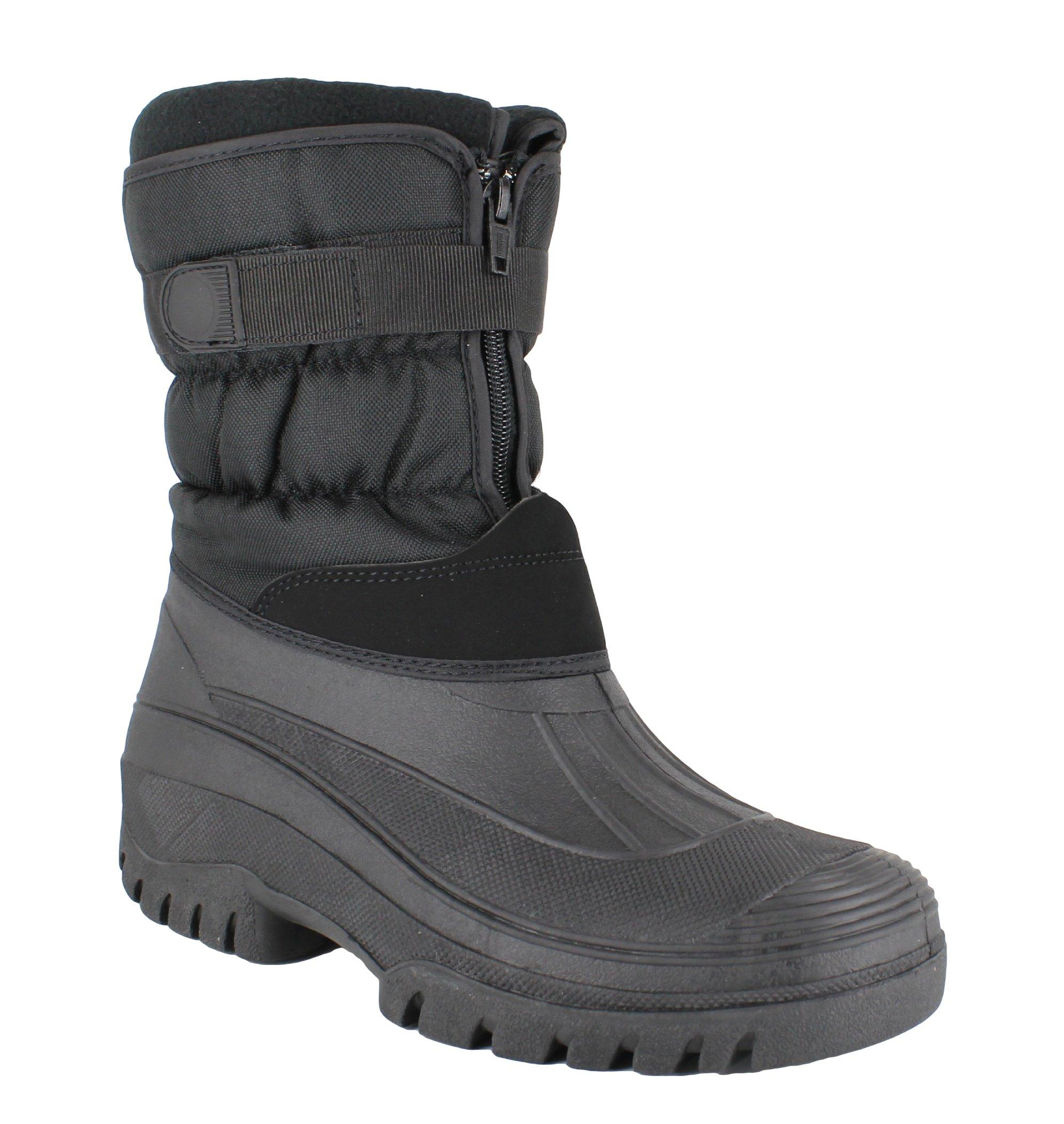 GroundWork Womens Navy Mucker Stable Yard Winter Snow Zip Up Boots Wellies