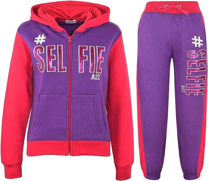 A2Z 4 Kids® Enfants Filles Violet & Rosé Survêtement #Selfie