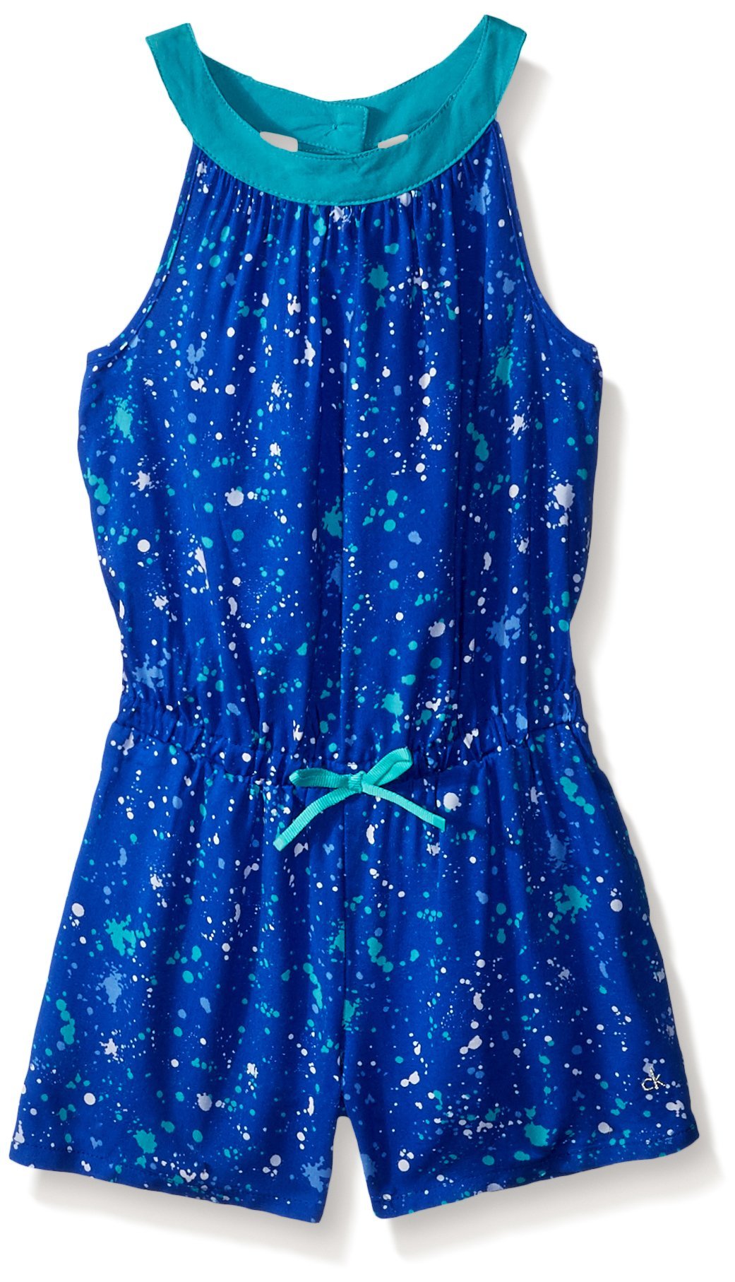 Calvin Klein Big Girls' Romper, Dark Blue Printed, Medium (8/10)