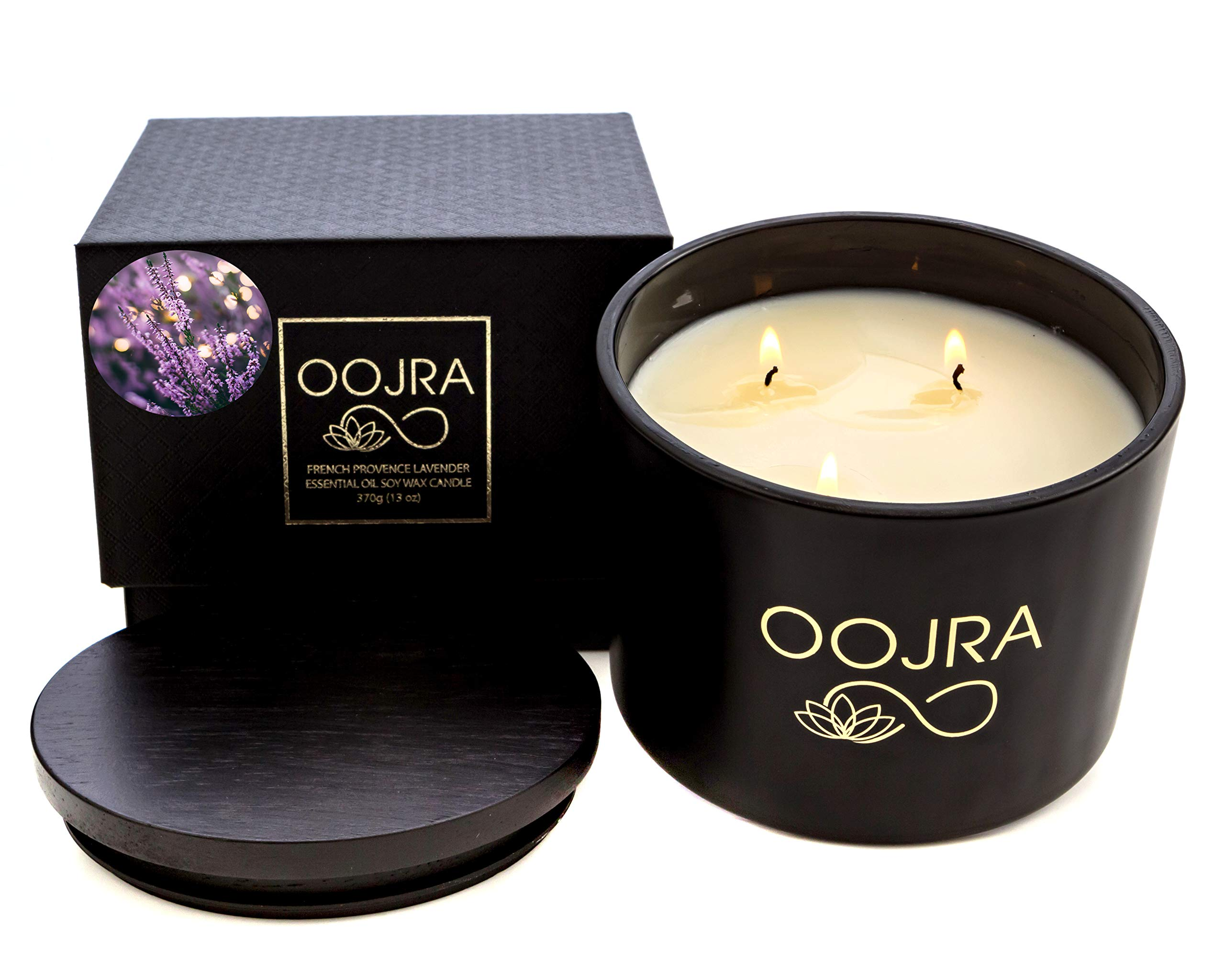 OOJRA Essential Oil French Provence Lavender Scented Soy Wax Luxury Candle 3 Wick 13 oz (370g) 75+ Hours with Lid and Gift Box