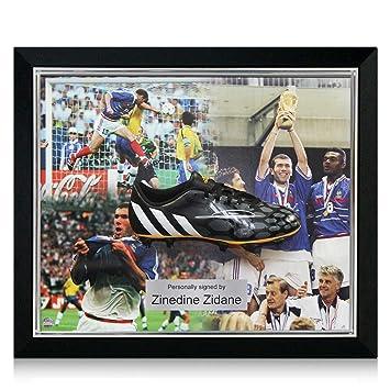 Deluxe Enmarcado Firmado Zinedine Zidane Botas de fútbol (incrustaciones de plata)