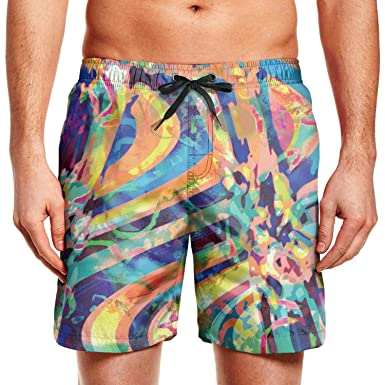 94fb0620aa Quenei Miex Men's Abstract Trippy Brightness Space Sportwear Quick Dry Board  Shorts with Lining