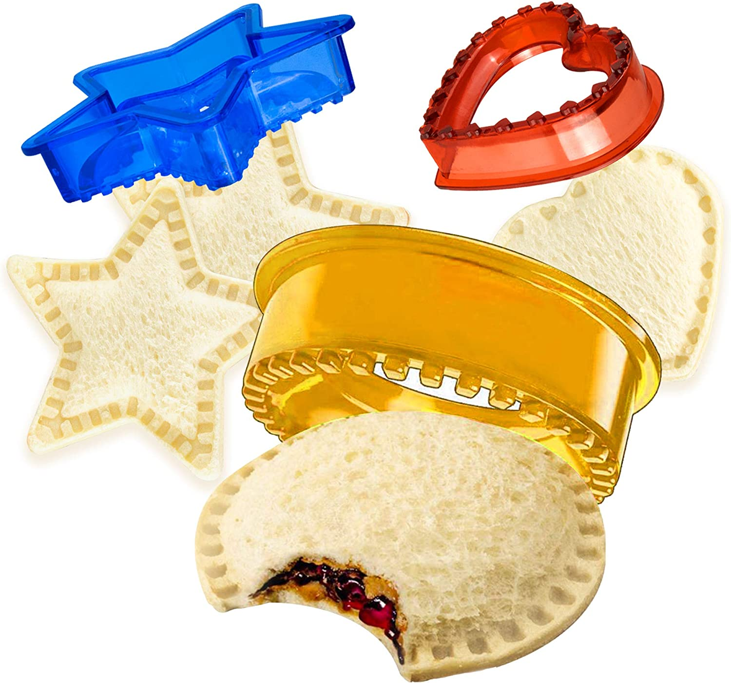 Sandwich Cutter, OUBLANC Uncrustable Sandwich Cutter and Sealer for Kids Cookie Bread Pancake Maker Great for Lunchbox and Bento Box Boys and Girls Kids Lunch (Star, Heart, Circle)