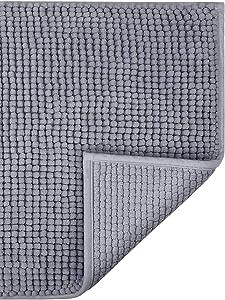 "Klickpick Designs Thick Plush Bath Mats Soft Bath Mat Chenille Washable Bath Rugs Microfiber Shaggy Non Slip Bathroom Rug Anti Slip Absorbent Bath Rug Carpet with Non Skid Backing (24"" x 35"", Gray)"
