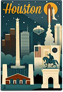 product image for Lantern Press Houston, Texas - Retro Skyline 66934 (6x9 Aluminum Wall Sign, Wall Decor Ready to Hang)