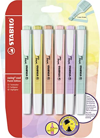 Marcador pastel STABILO swing cool - Pack con 6 colores: Amazon.es ...
