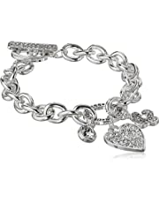 015139691 GUESS Women's Chunky Chain Toggle Close Bracelet with Paved Heart Charm
