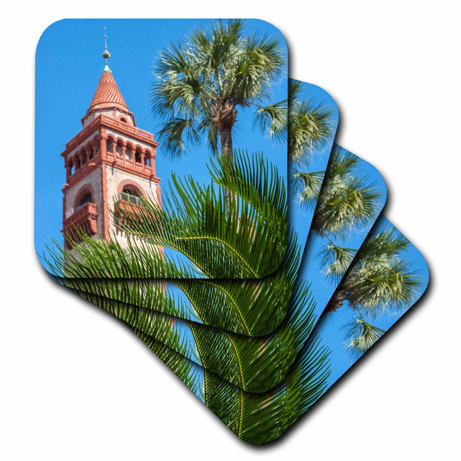 3dRose cst_209703_1 USA, Florida, St Augustine, Hotel Ponce De Leon, Flagler College Soft Coasters (Set of 4)