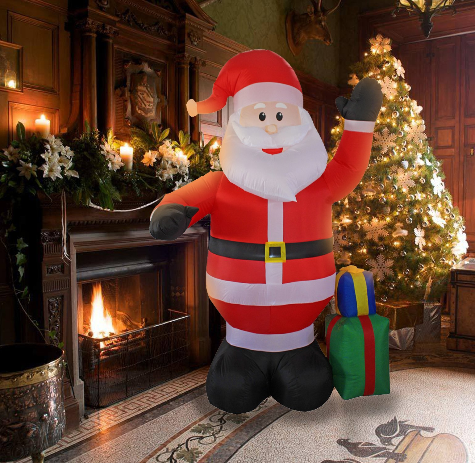 8 Ft Inflatable Christmas Santa Claus with a Gift Box Decorations for Indoors Outdoor Home Yard Lawn Garden Decor