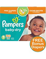 Pampers Diapers Size 5, Baby Dry Disposable Baby Diapers, 160 Count PLUS LIMITED TIME BONUS DIAPERS