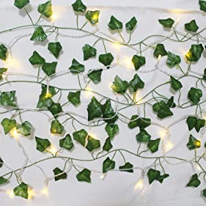 SO CAL PRO Fake Ivy Leaves Artificial Greenery Vines for Room Decor Leaves Room Decor Fake Leaves Ivy Garland Faux Vines Wedding Decor (24 Strands of Ivy with Lights)