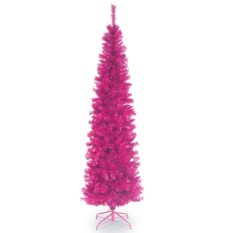 National Tree 6 Foot Pink Tinsel Christmas Tree