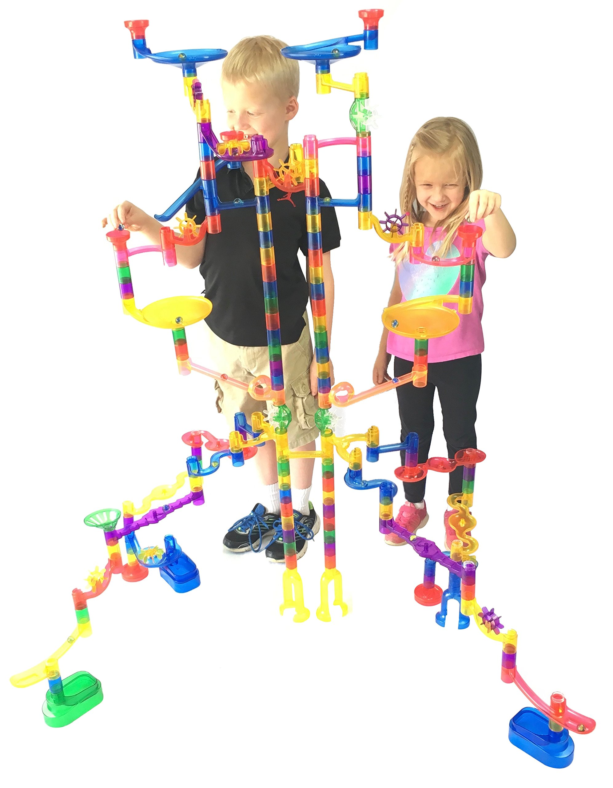 Genius 125 Seethrough Marble Run Extreme Set 145 Complete Piece 20 Glass Marbles