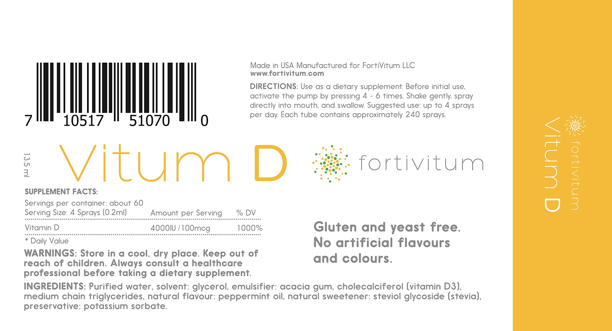 Vitamin D3 4000 IU Liquid Spray (Cholecalciferol), Naturally High Absorption Rate | Strong Bone Health and Immune System Boost by FortiVitum (Image #1)