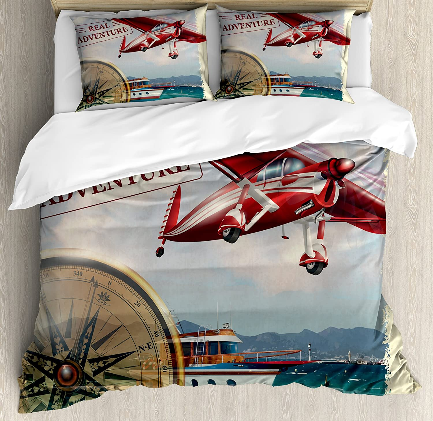 Ambesonne Adventure Duvet Cover Set, Real Adventure Words with Coastline and a Red Airplane Journey Travel Themed Art, Decorative 3 Piece Bedding Set with 2 Pillow Shams, Queen Size, Ruby Beige