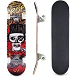 """Lelly Q Complete Skateboard - 31"""" x 8"""" Inches,8 Layer Maple Wood Tricks Skate Board for Beginner,Birthday Gift for Extreme Sports and Outdoors"""
