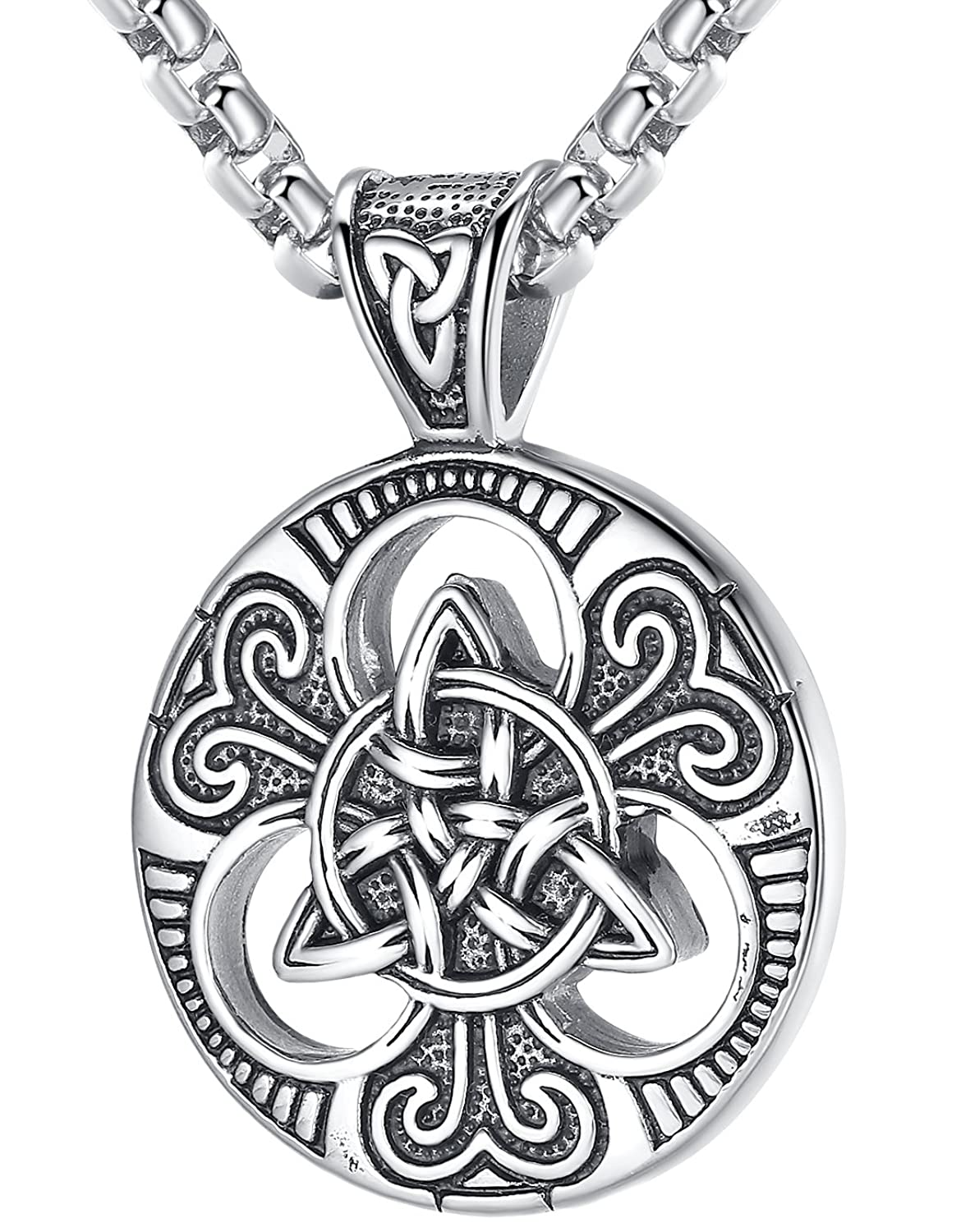 "LineAve Men's Stainless Steel Celtic Trinity Knot Triquetra Pendant Necklace, 23"" + 2"" Ext Chain"