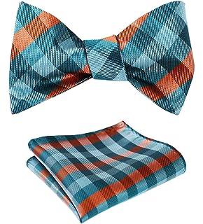 4d14f334db75 HISDERN Men's Check Plaid Jacquard Self Tie Bow Tie Pocket Square Set  Wedding Party