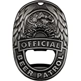 OFFICIAL BEER PATROL – MAGNETIC BOTTLE OPENER BEER BADGE WITH RARE EARTH MAGNET AND MONEY CLIP (VINTAGE STEEL)