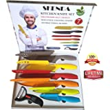 Skenda 7pcs Color Kitchen Knives Set - 6 World Class Quality Knifes Nonstick Cutlery With 6 Sheaths - Free E-books ( 5 ) Chef , Santoku, Bread, Carving, Paring, Utility Knife, Dual Ceramic Peeler.