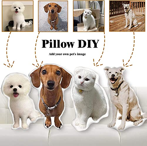 Personalized Pillow with Photo, Custom Pet Picture 3D Duplex Printing Body Cat Dog Shaped Pillow Gift for Lover, 24