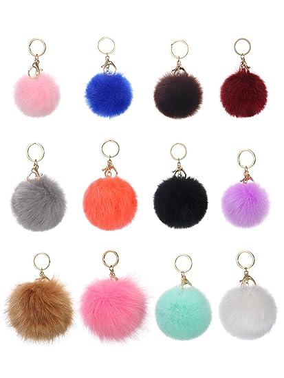 94ba59201569 Amazon.com  WILLBOND 12 Pieces Faux Fur Ball Pom Pom Keychain Fluffy ...