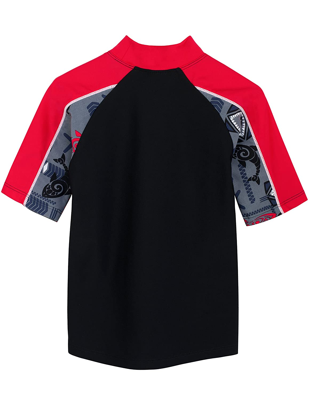 Swimwear Tuga Boys Two-Piece Short Sleeve Swim Suit Set 2-14 Years UPF 50
