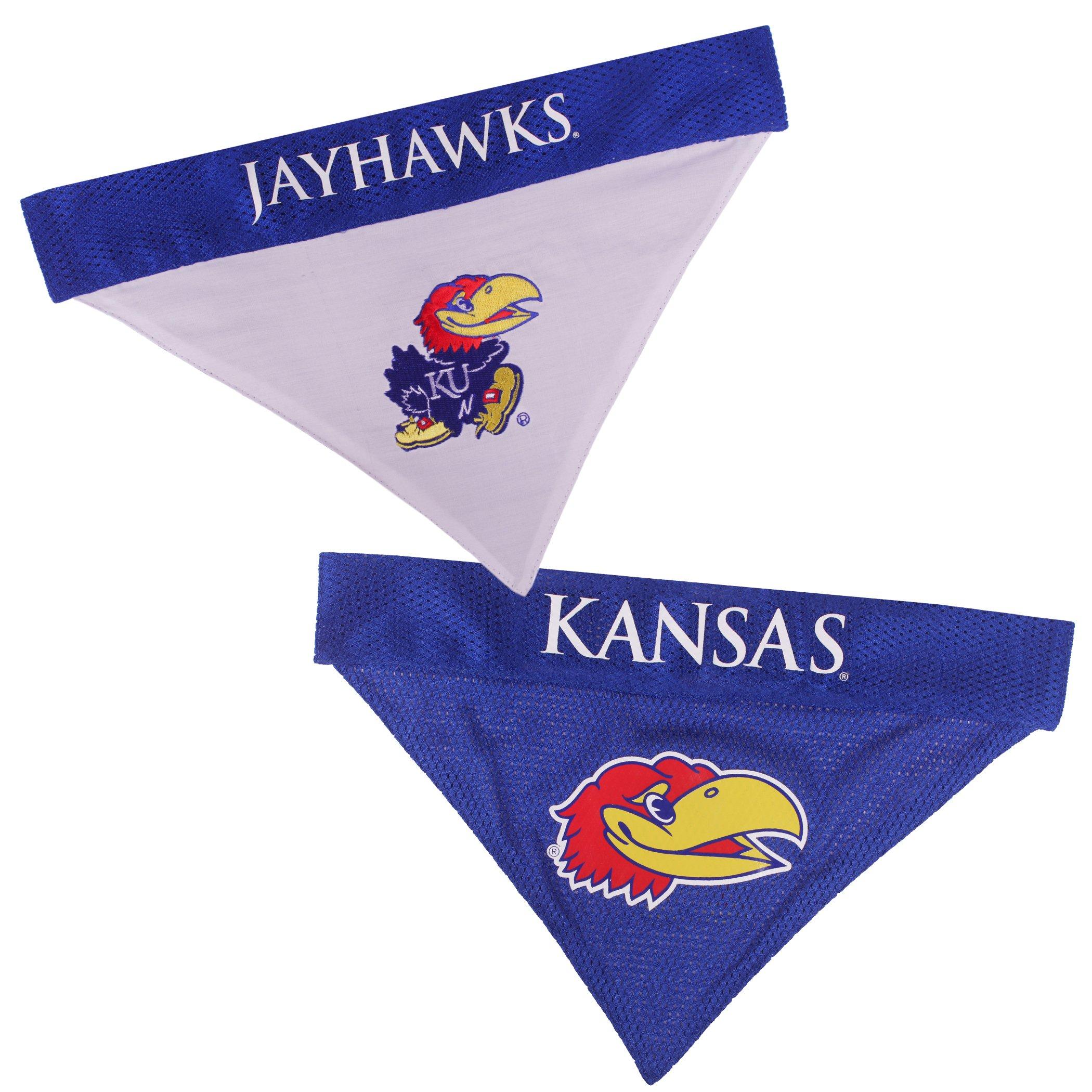 Pets First Collegiate Pet Accessories, Reversible Bandana, Kansas Jayhawks, Large/X-Large