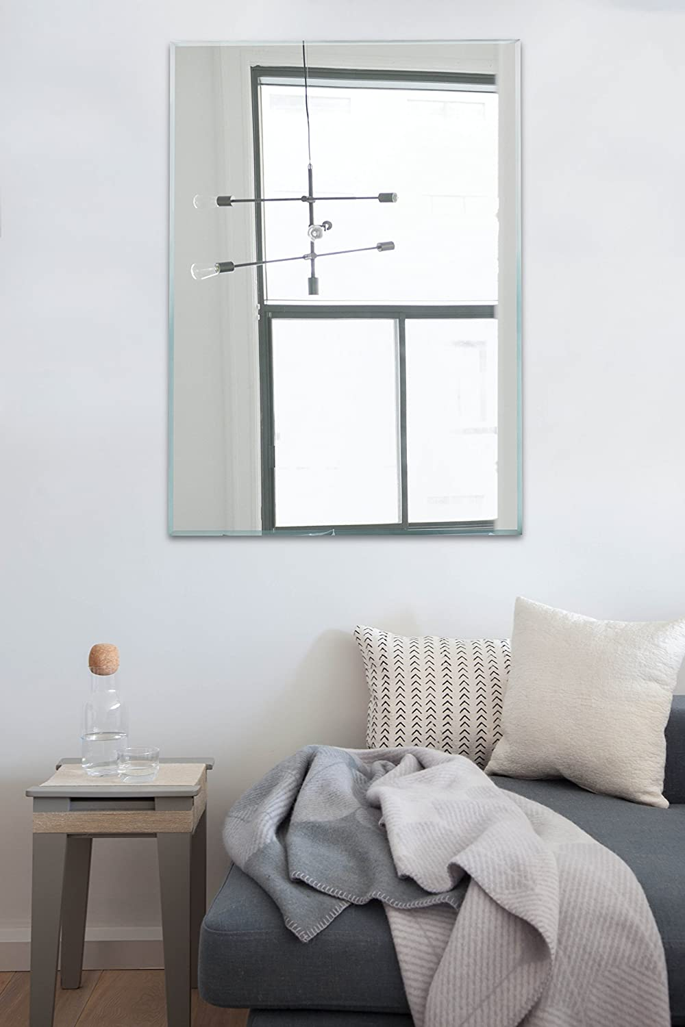 Large Rectangle Wall Mirror - 30 in x 40 in Frameless Mirror with Beveled Edge - Horizontal/Vertical Hang for Vanity, Bathroom, Bedroom - Hooks Included Light In The Dark LITD-MP3040