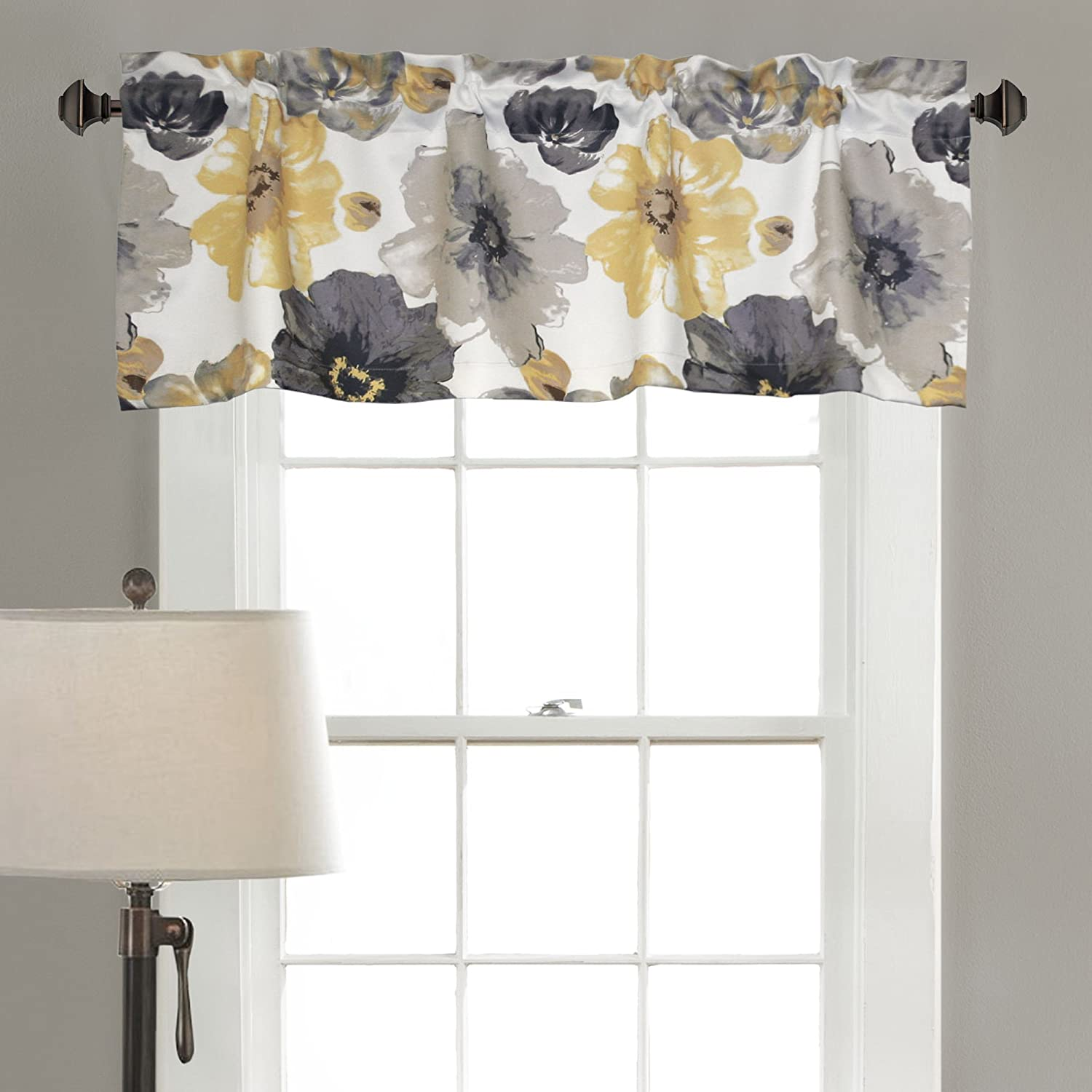 Lush Decor Leah Room Darkening Window Curtain Valance, 18 inch x 52 inch, Yellow/Gray