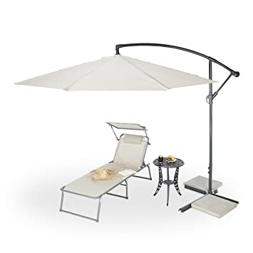 Relaxdays Garden Umbrella, 3m Diameter, 38 mm Steel Mast, Sturdy Ribs,  Polyester, Tilt Function
