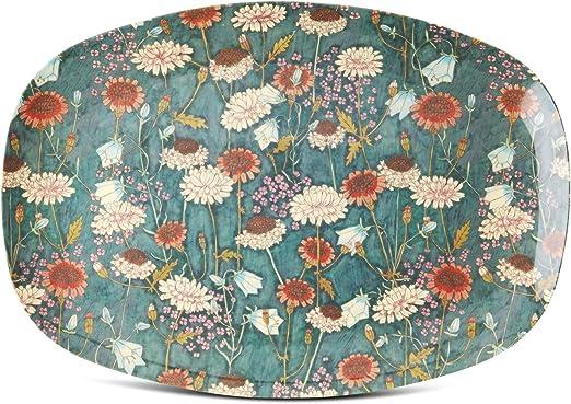 mit Schmetterlings und Blumendruck Rice DK Teller aus Melamin rechteckig