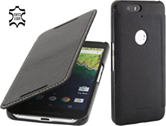StilGut Book Type Case Senza Clip, Custodia di Pelle con Funzione On/off per Google Nexus 6P, Nero