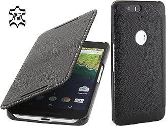 StilGut Book Type sans Clip, Housse en Cuir avec Fonction Smart Cover pour Google Nexus 6P, en Noir