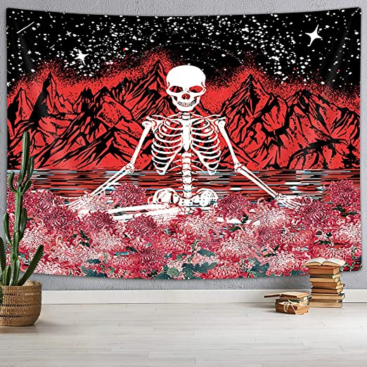 """Skull Floral Tapestry Meditation Skeleton Tapestry, Flower Mountain Wave Tapestry Moon and Star Tarot Tapestry Starry Tarot Tapestry for Bedroom Living Room Dorm, Black and White Red (60""""X40"""")"""