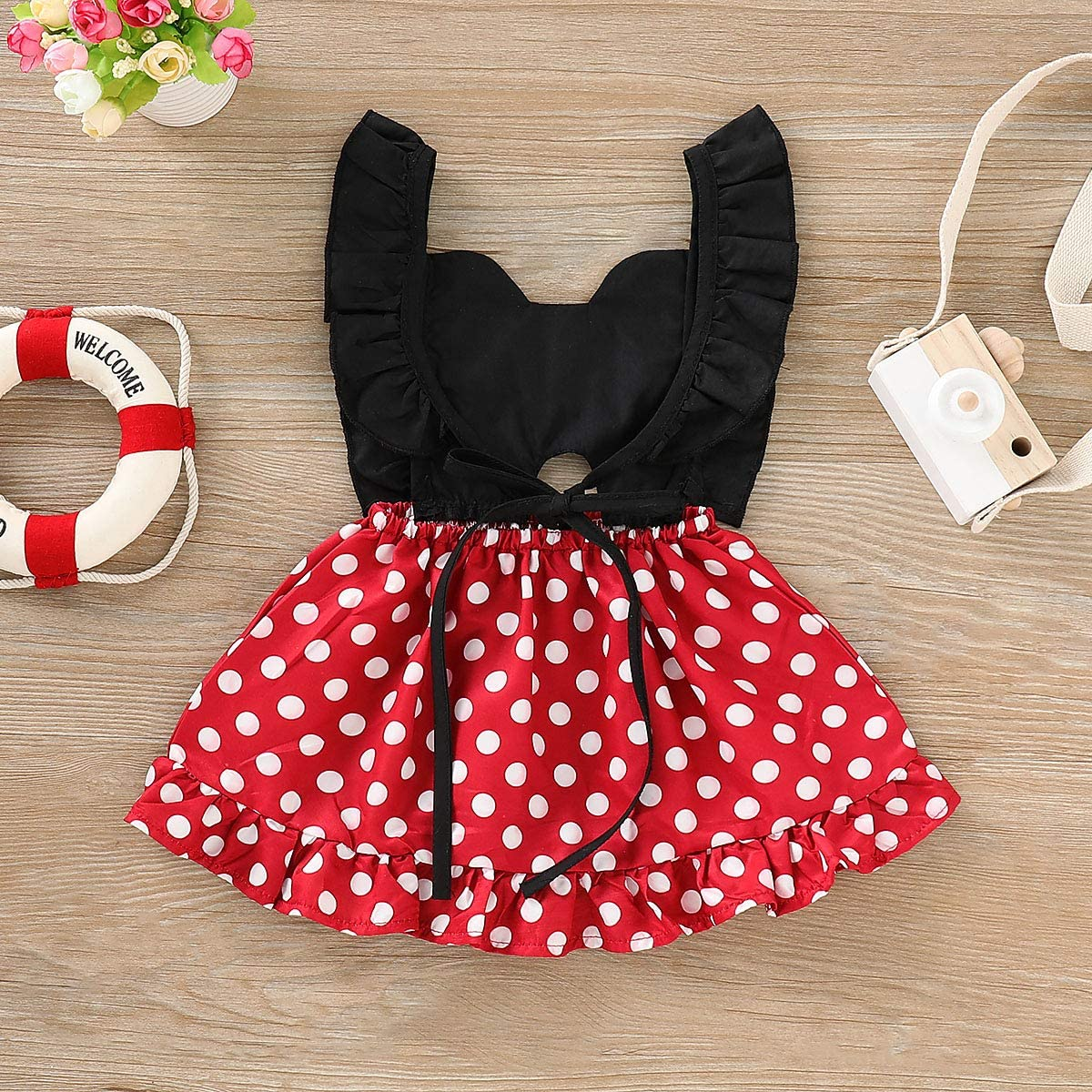Muasaaluxi Infant Kid Baby Girls Summer Ruffled Sleeve Polka Dot Princess Dresss Backless Swing Mini Sundress Outfit 0-4Y