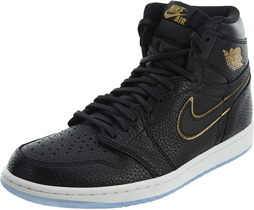 Jordan Retro 1 High Basketball Men's Shoes Size 12 Black/Metallic Gold