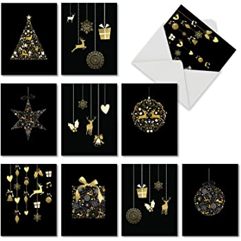 golden holiday boxed 10 assorted christmas cards 4 x 525 illustrated wbeautiful gold color not foil holiday gifts ornaments reindeer xmas
