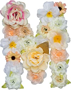 "ZHENHAN Artificial Decorative Letter with Flowers, Champagne, 7.9""x5.5""x1.1"", Floral Decor/for Special Occasion/Event/Home Decorating (Letter, M)"